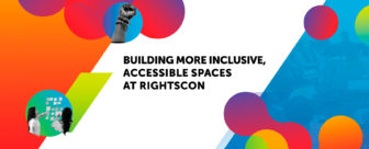 """Gradient orange and blue shape patterns in the background with a main title that reads """"Building more inclusive, accessible spaces at RightsCon"""""""