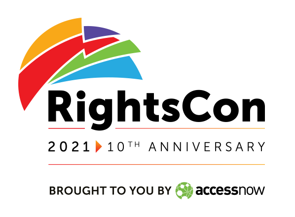 Logo: RightsCon 2021 - celebrating the 10th anniversary, brought to you by Access Now